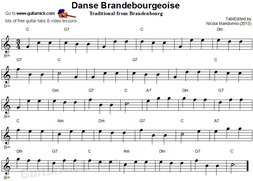 DANSE BRANDEBOURGEOISE: easy guitar sheet music