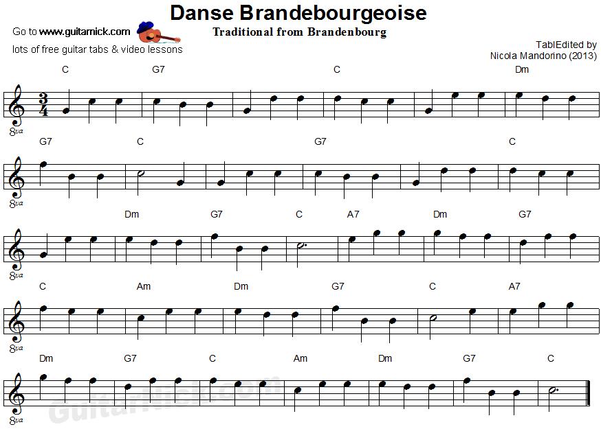 DANSE BRANDEBOURGEOISE Easy Guitar Lesson: GuitarNick.com