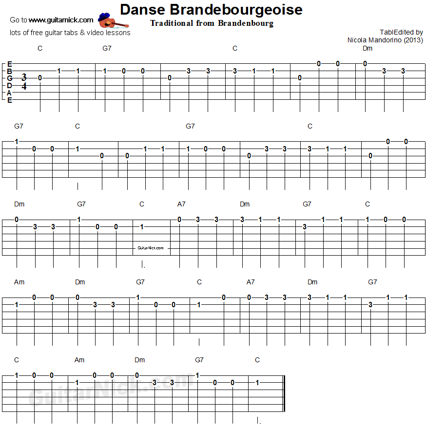 DANSE BRANDEBOURGEOISE: easy guitar tablature