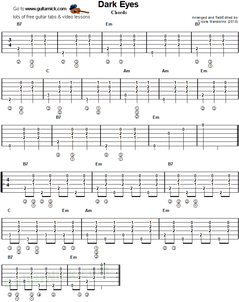 Dark Eyes - guitar chords