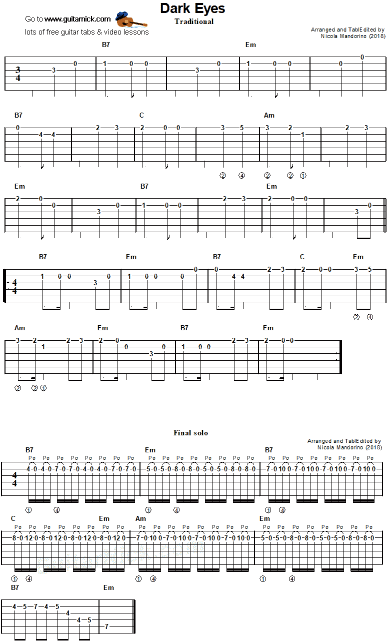 Dark Eyes - easy guitar tab