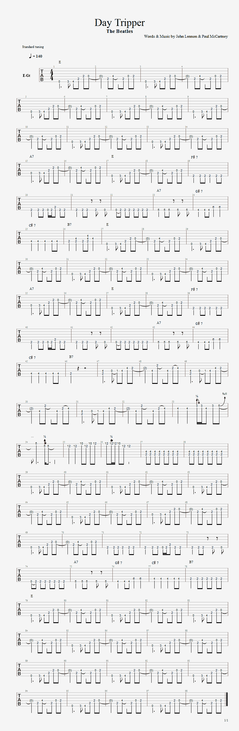 Day Tripper - guitar  tab