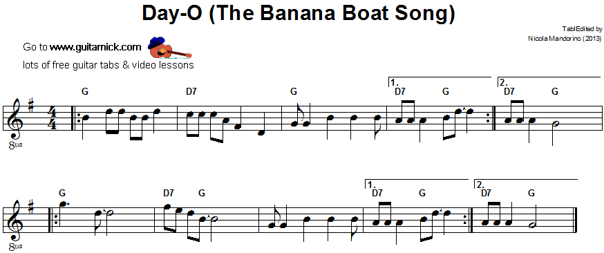 The Banana Boat Song - easy guitar sheet music