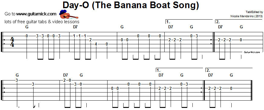 The Banana Boat Song - easy guitar tablature