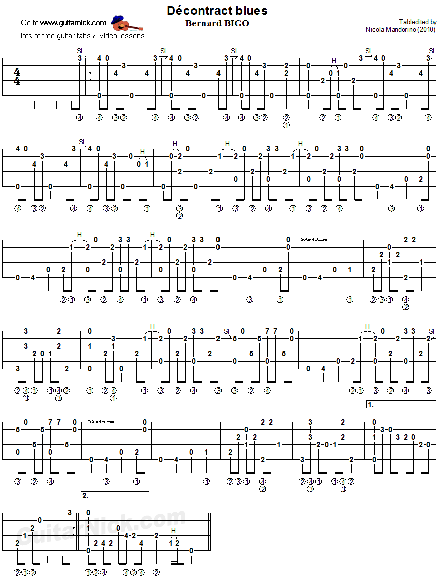 Decontract Blues: fingerstyle guitar TAB - GuitarNick.com