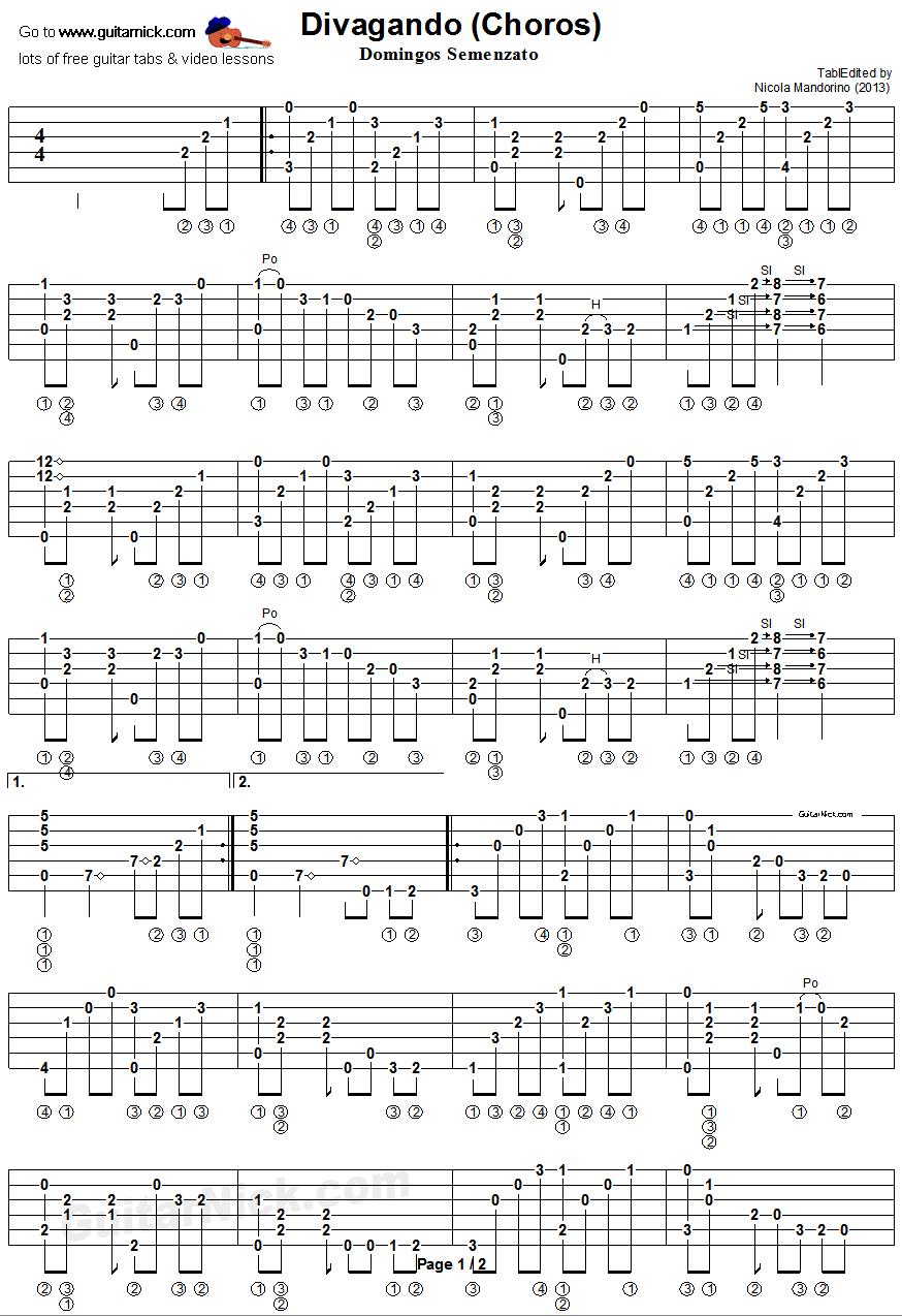 DIVAGANDO (Choros) Semenzato: Classical Guitar TAB: GuitarNick.com