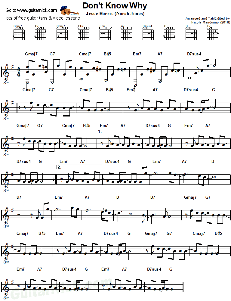 All Music Chords don t know why norah jones sheet music : Norah Jones, DON'T KNOW WHY: Easy Guitar Tab - GuitarNick.com