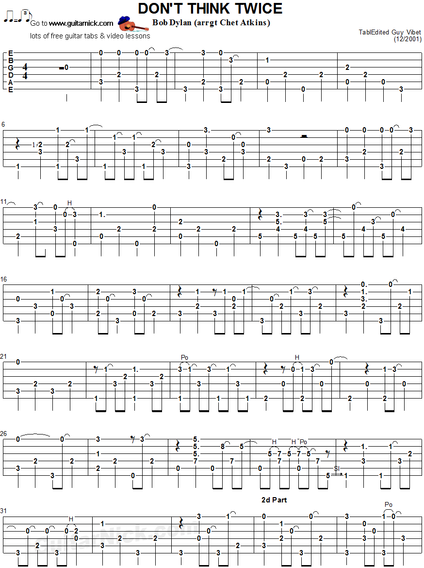 Don't Think Twice - fingerstyle guitar tab 1