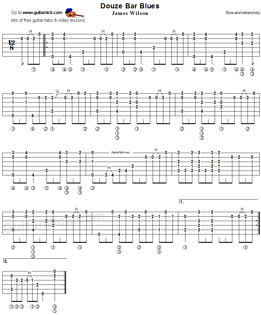 Douze Bar Blues: fingerstyle guitar TAB - GuitarNick com