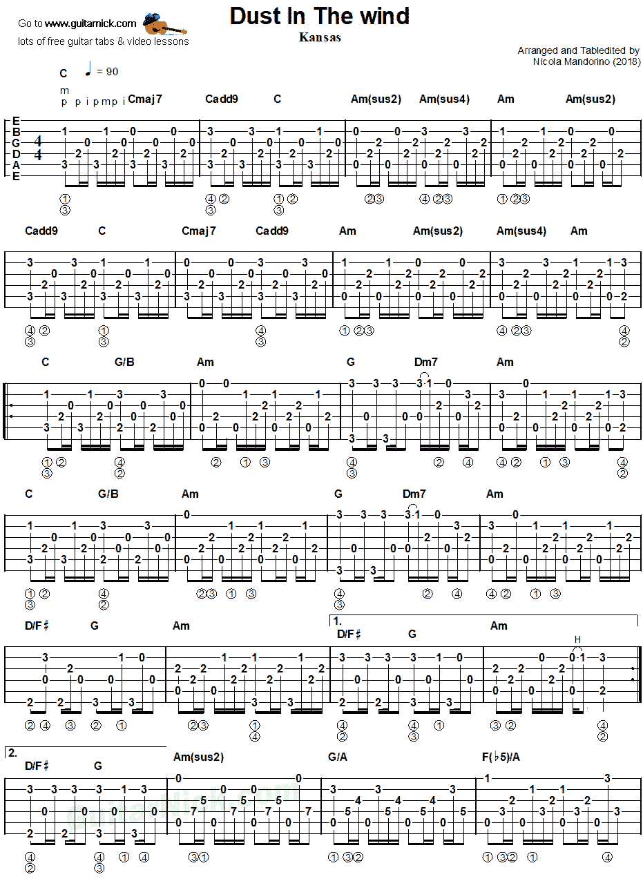DUST IN THE WIND: Fingerstyle Guitar Tab - GuitarNick com