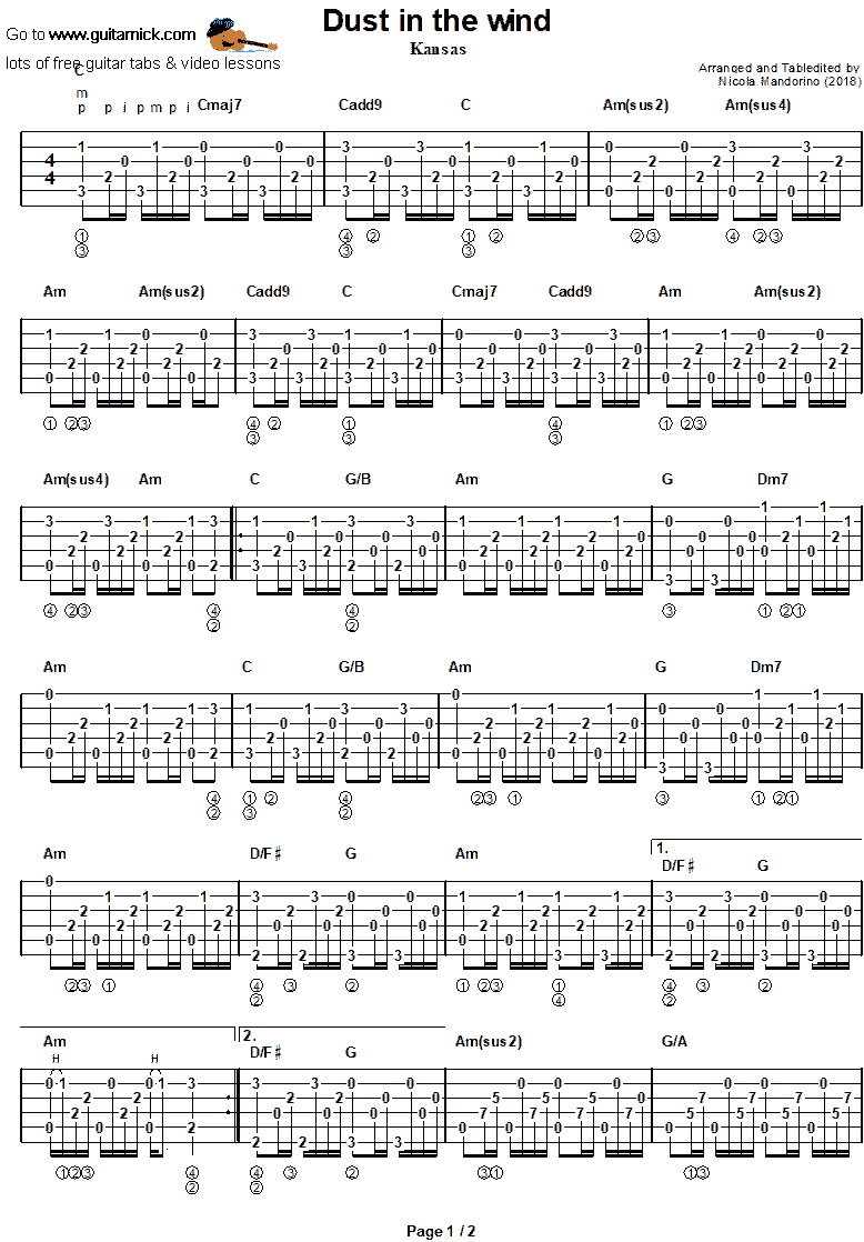 Dust in the Wind by Kansas - guitar tab 1