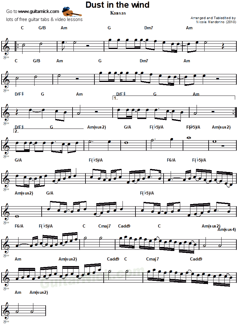 Dust in the Wind by Kansas - guitar sheet music