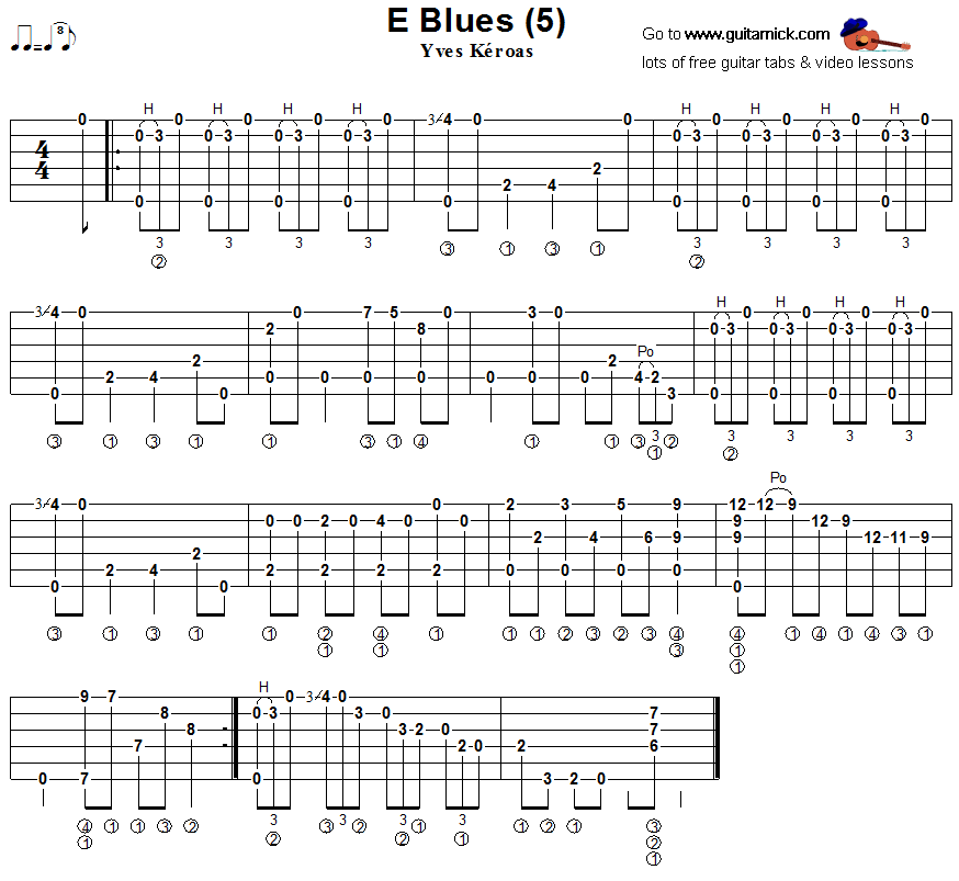 E Blues 5  - fingerstyle guitar tab