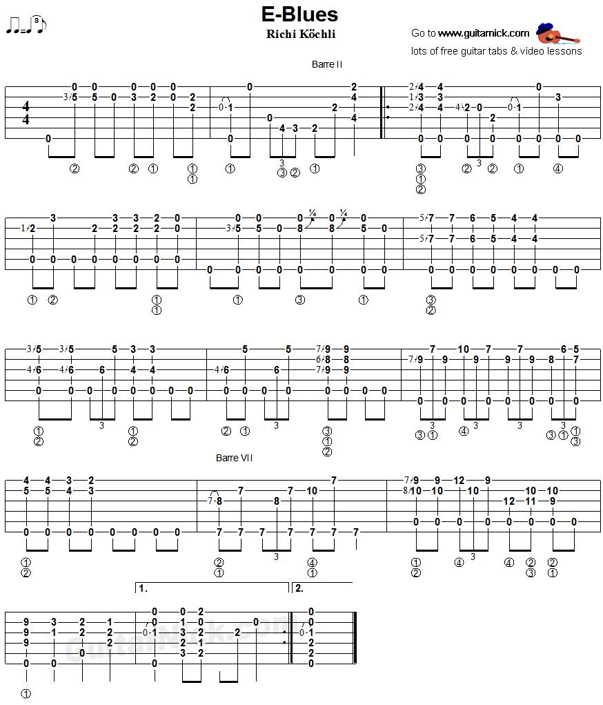 E-Blues: fingerstyle guitar TAB - GuitarNick com