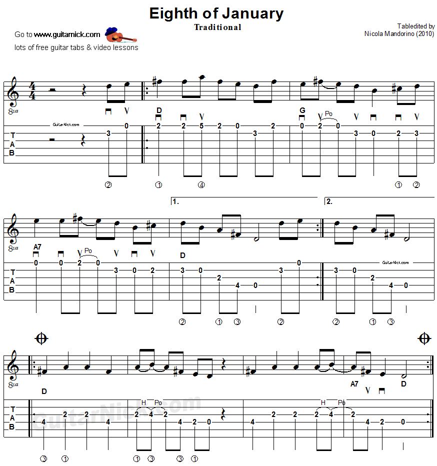 Eighth of January: sheet music + guitar TAB - GuitarNick.com