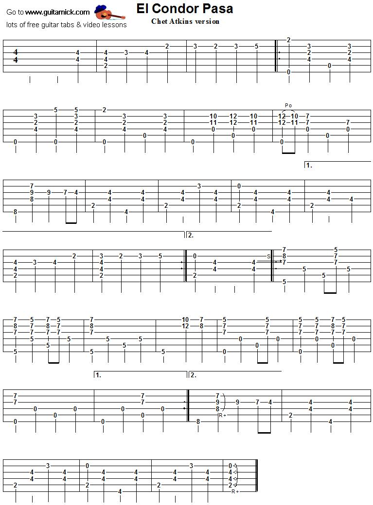 EL CONDOR PASA: Atkins Guitar TAB: GuitarNick.com | 767 x 1040 png 29kB