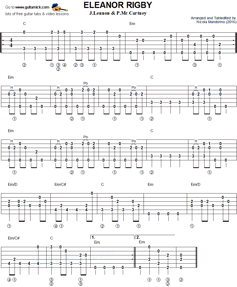 Eleanor Rigby - fingerstyle guitar tab