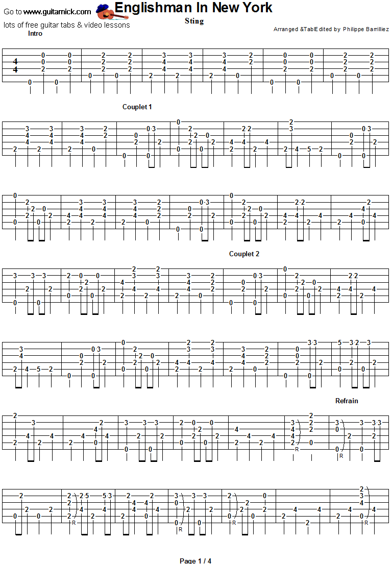 Englishman In New York- guitar tab 1