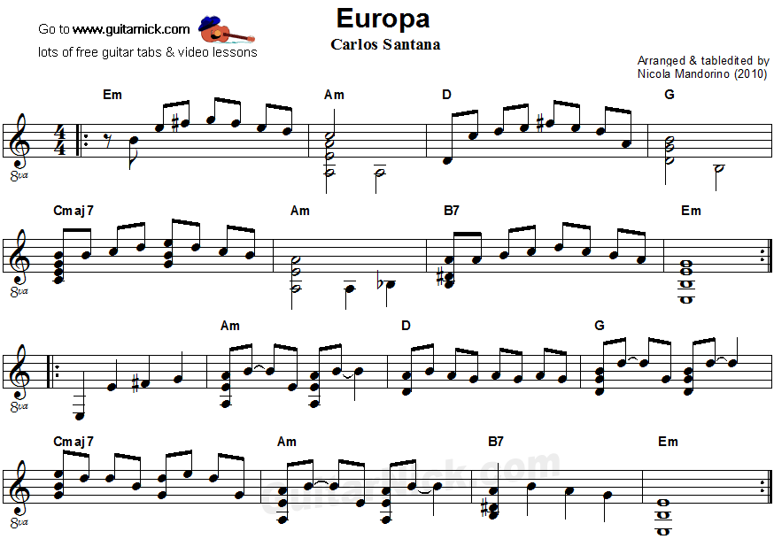 Europa - flatpicking guitar sheet music