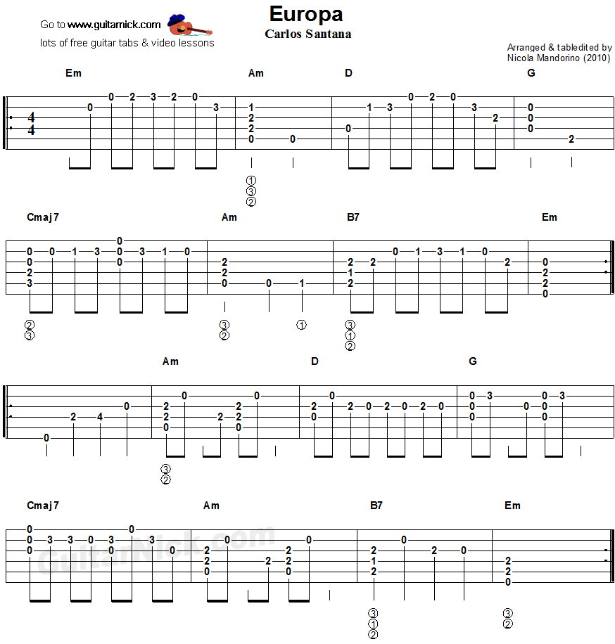 Europa - flatpicking guitar tablature