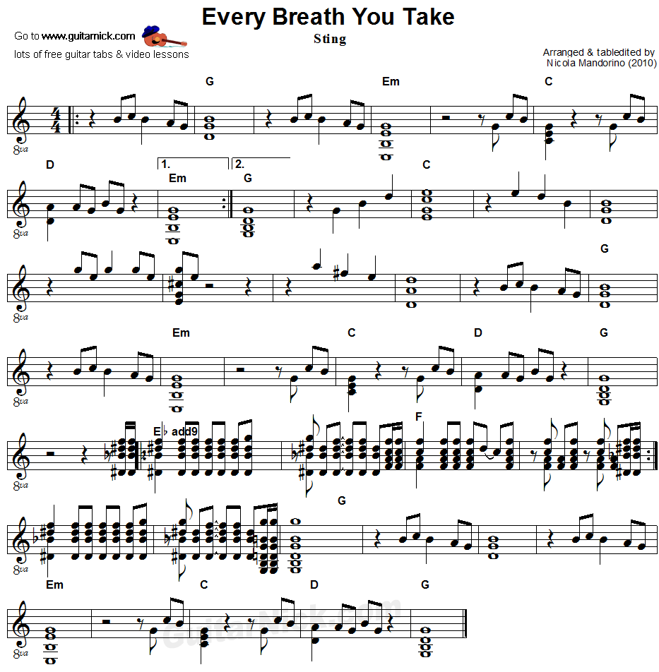 Every Breath You Take - flatpicking guitar sheet music