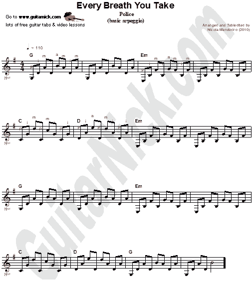 Every Breath You Take - guitar chords sheet music