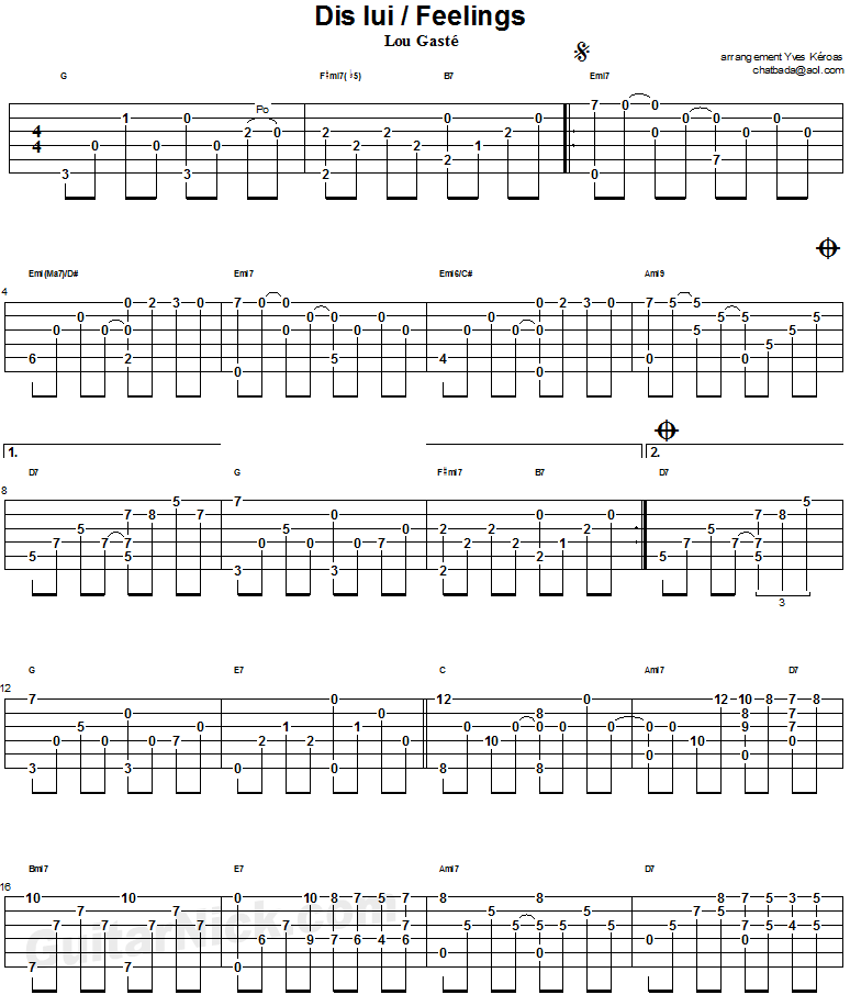 Feelings - guitar tab 1