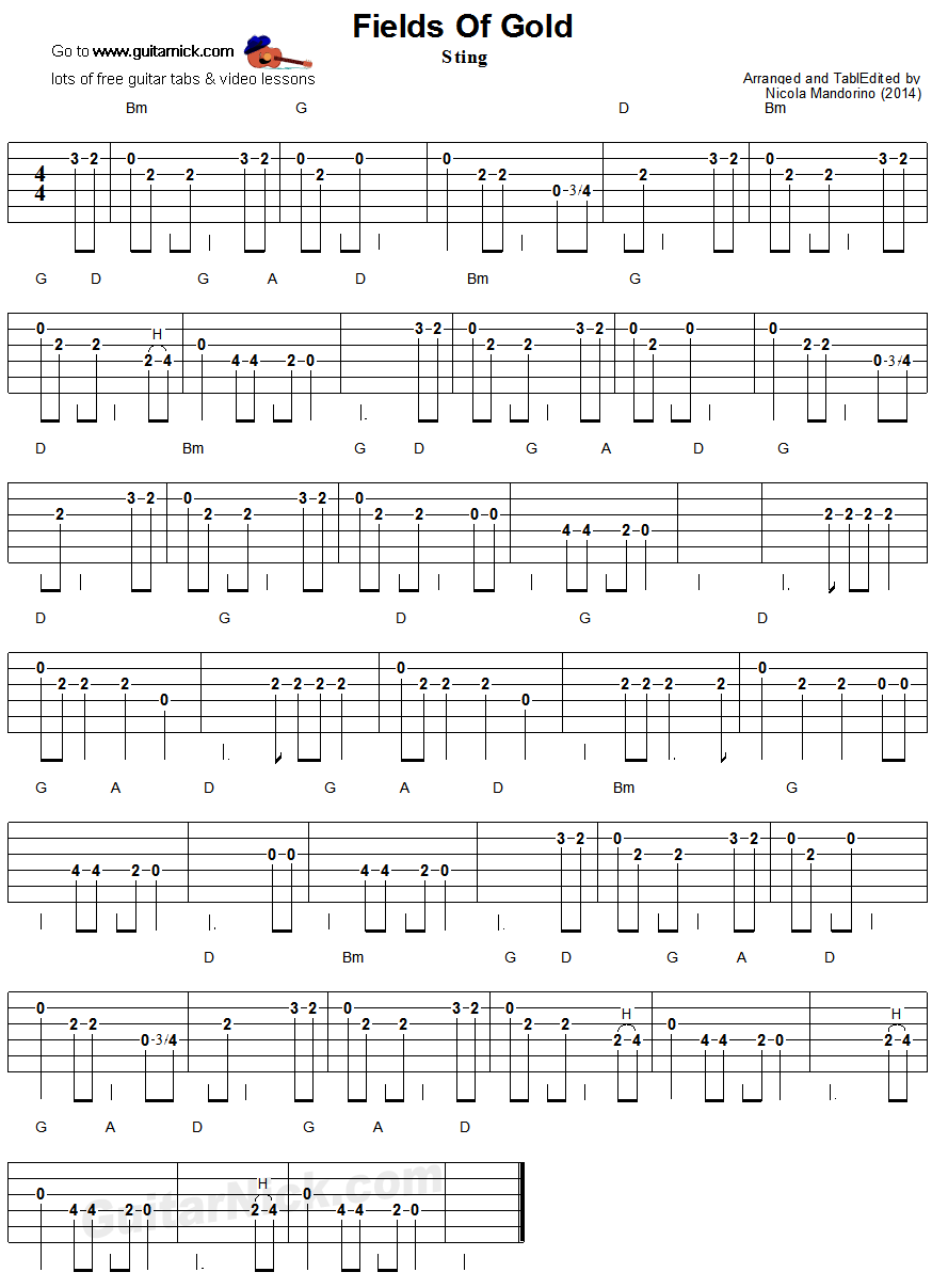 Fields Of Gold - easy guitar tablature