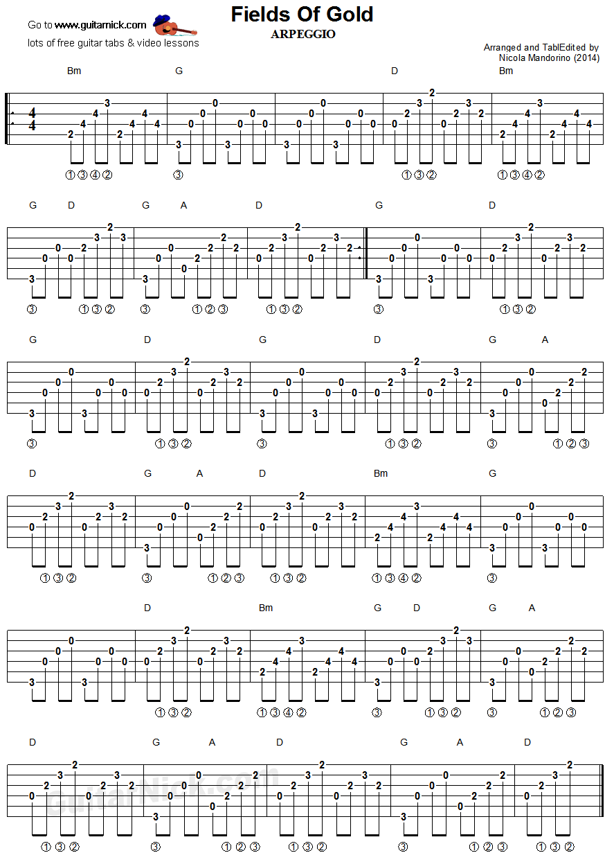 Fields Of Gold: guitar chords arpeggio