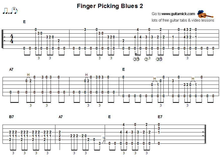FingerPicking Blues 2 -  guitar tab