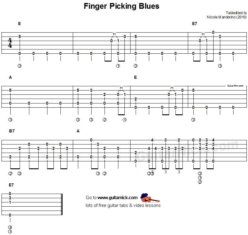 FINGERPICKING BLUES Fingerstyle Guitar Tab: GuitarNick com