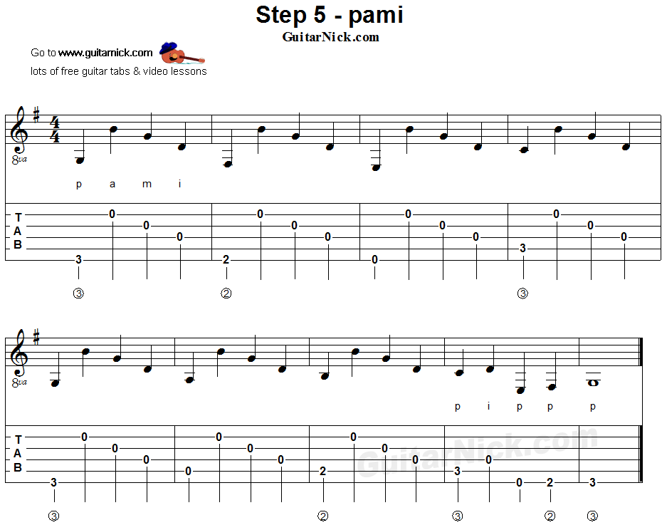 Fingerstyle guitar lesson - tablature 5