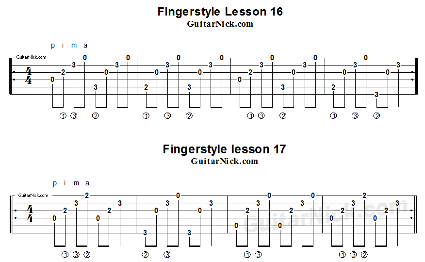Fingerstyle lessons 16-17