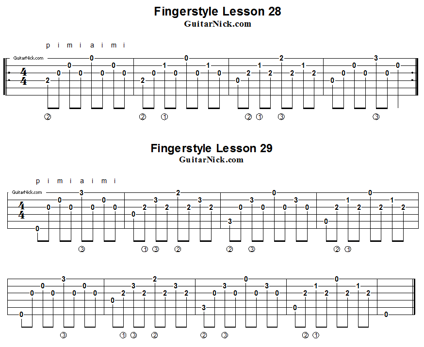 Fingerstyle lesons 28-29