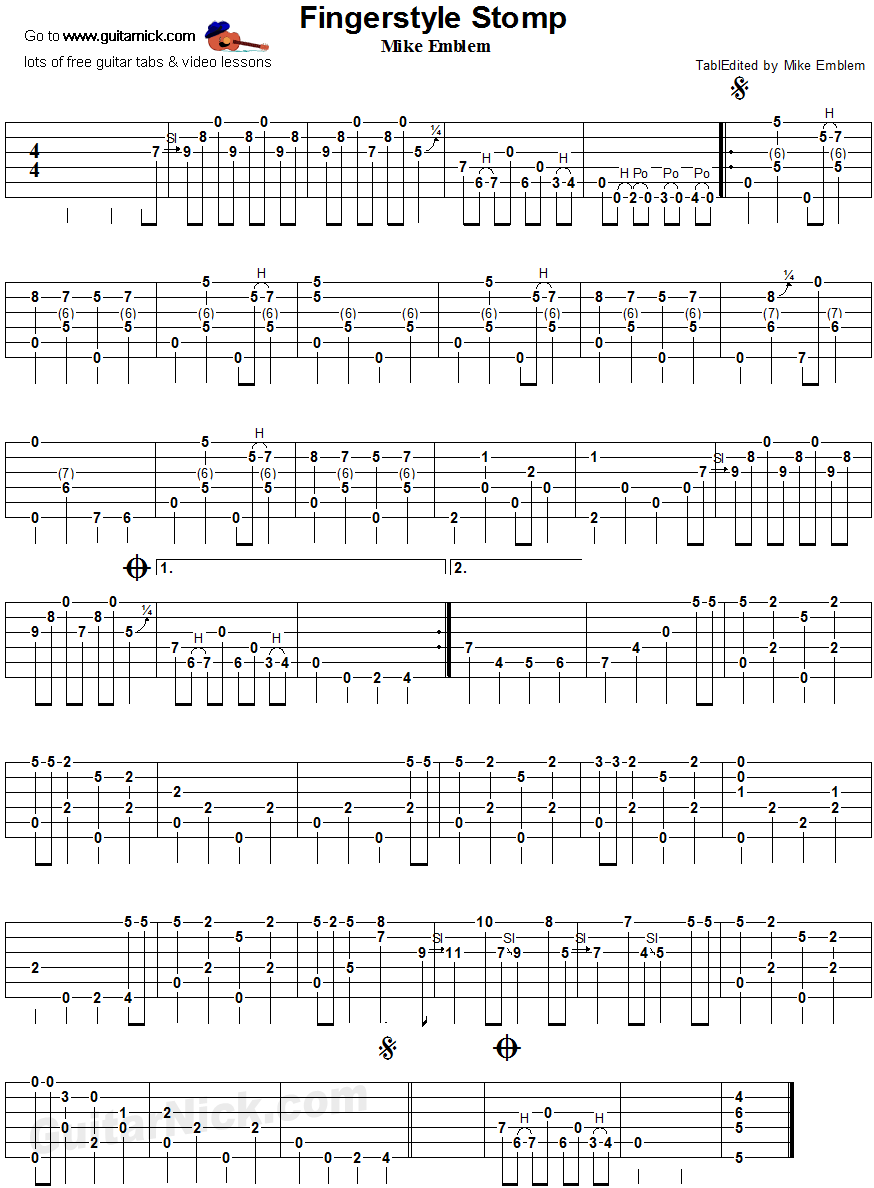 Fingerstyle Stomp - fingerpicking guitar tablature