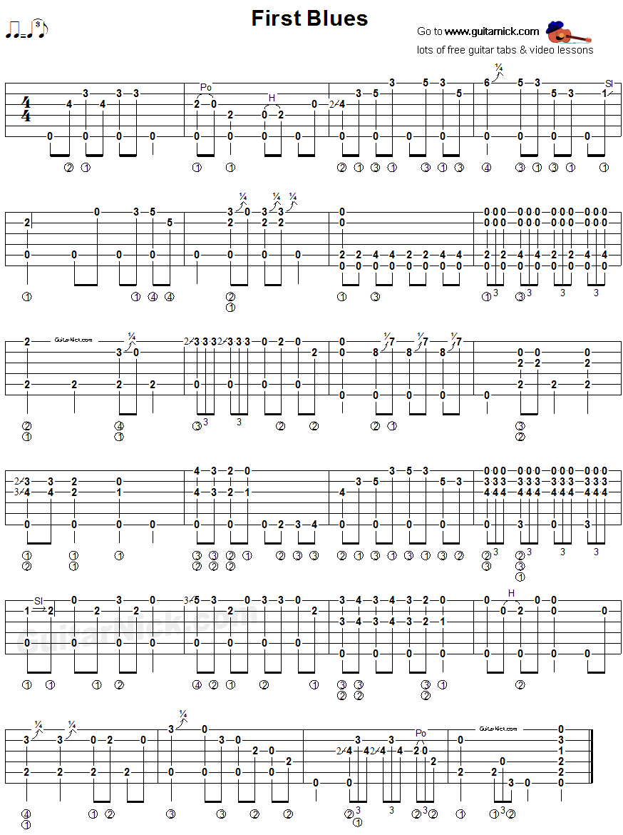 First Blues - fingerstyle guitar tab