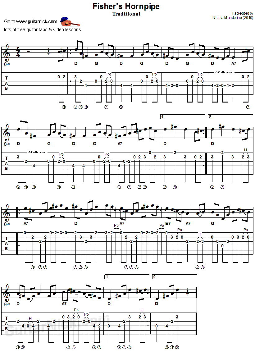 Fisher's Hornpipe - acoustic Irish flatpicking guitar tab & sheet music