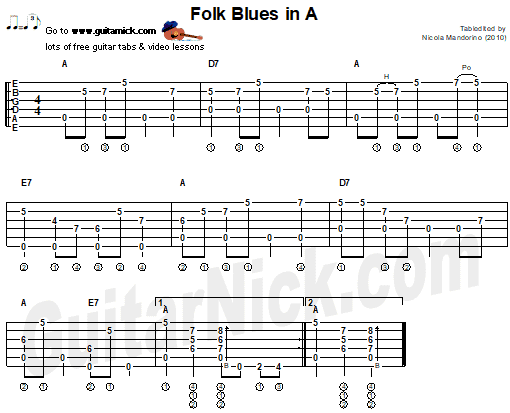 FOLK BLUES In A - fingerstyle guitar tab