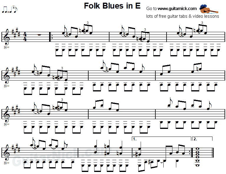 Folk Blues In E -  guitar sheet music