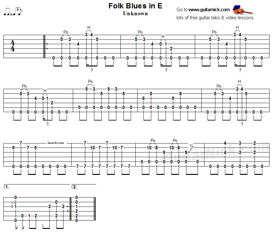 Folk Blues In E -  guitar tab