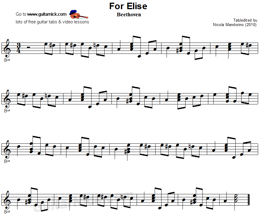 For Elise: easy guitar sheet music