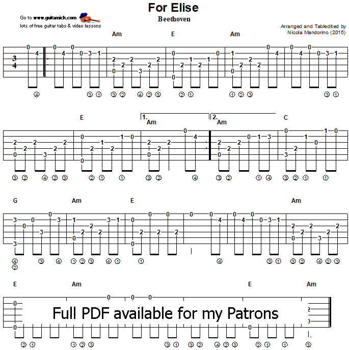 FOR ELISE - Fingerstyle Guitar Tab