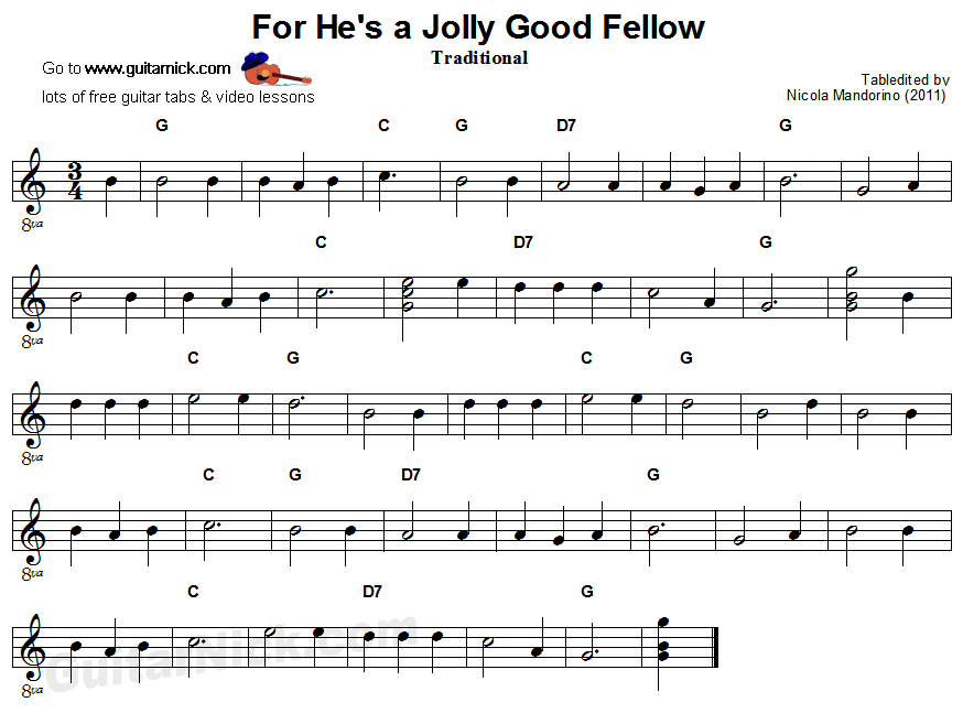 For He's a Jolly Good Fellow: easy guitar sheet music