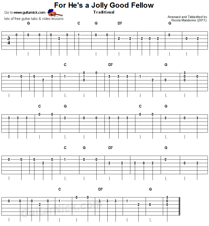 For He's a Jolly Good Fellow: easy guitar tab