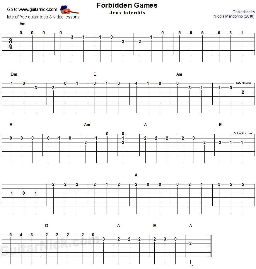 Guitar Chords For Beginners: ROMANCE Easy Guitar Tab: GuitarNick.com