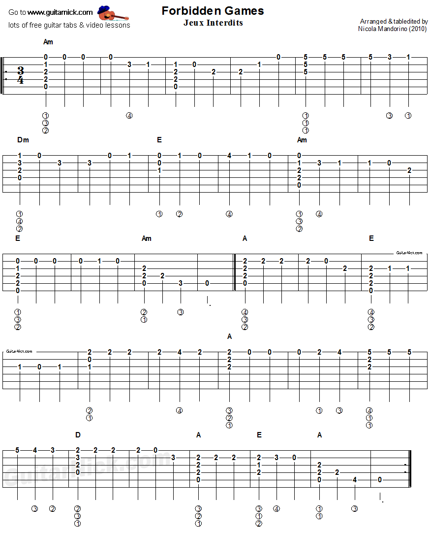 Romance - flatpicking guitar tablature