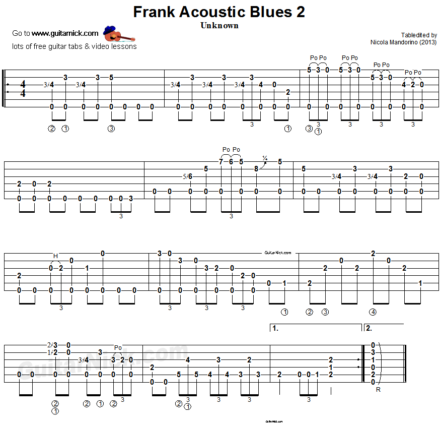 Frank Acoustic Blues 2: fingerstyle guitar TAB - GuitarNick com