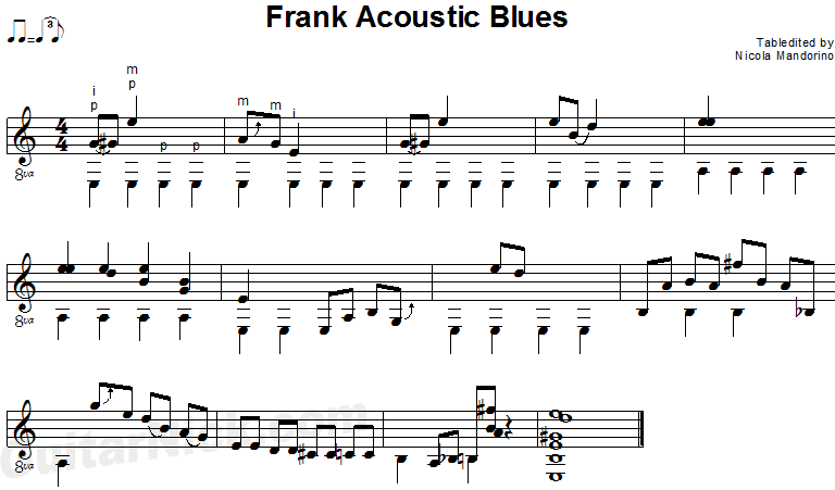 Frank Acoustic Blues - fingerstyle guitar sheet music