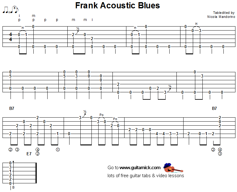 Frank Acoustic Blues - fingerstyle guitar tab