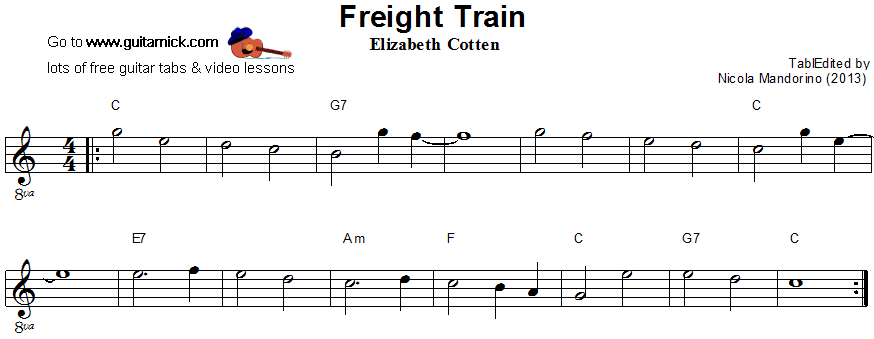 Freight Train: easy guitar sheet music